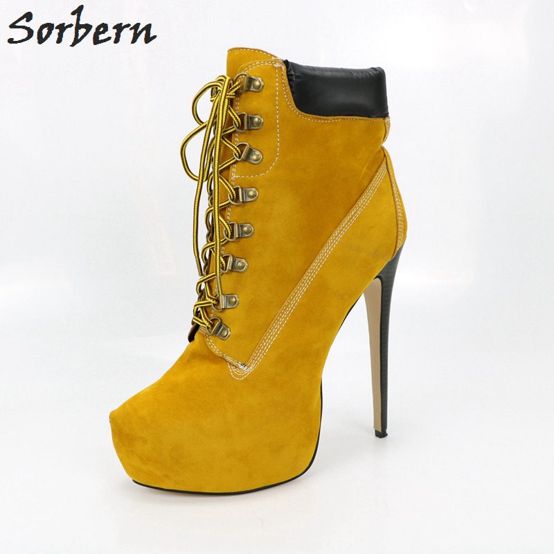 Yellow Brown Ankle High Short Boots Stiletto High Heels Short Plush Inside Winter Women Boots Thick Platform Lace-up Real Pic 2016 custom made fashion brown short ankle boots for women pointed toe lace up platform thin heels stiletto ladies buckle boots