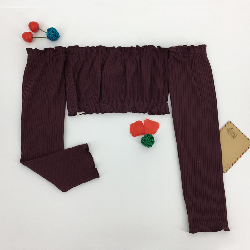 HTB18EViRVXXXXXIXpXXq6xXFXXX7 - Women Slash Neck Ruffles Crop Tops with Long Sleeve Sexy Tube Tops PTC 143