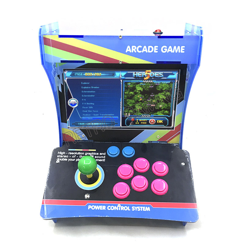 """10"""" LCD Mini Acrylic Cabinet 1 player Arcade game Machine Heroes 5 2020 in 1 jamma MAME Fighting Games with Joystick and buttons"""