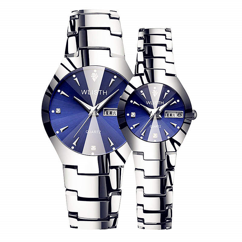 WLISTH Men Watch 2018 Blue Stainless Steel Wrist Watches Rose Gold Watchband Fashion Quartz Clock Waterproof Calendar First Man
