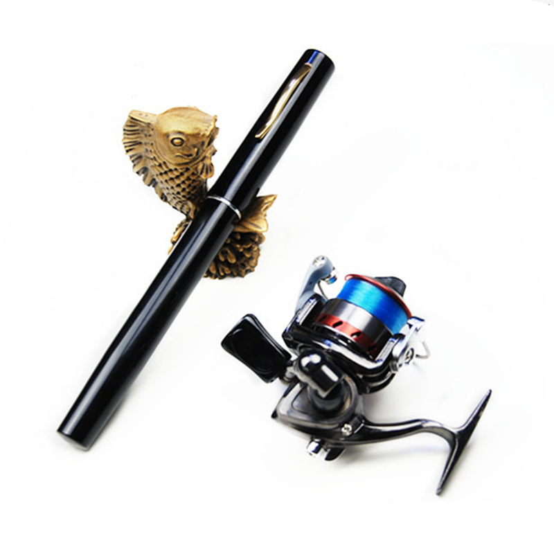 MeiYu Pocket Pen Carbon Fishing Rod Pole Reel Combos With Reel hook keeper 40m lines and