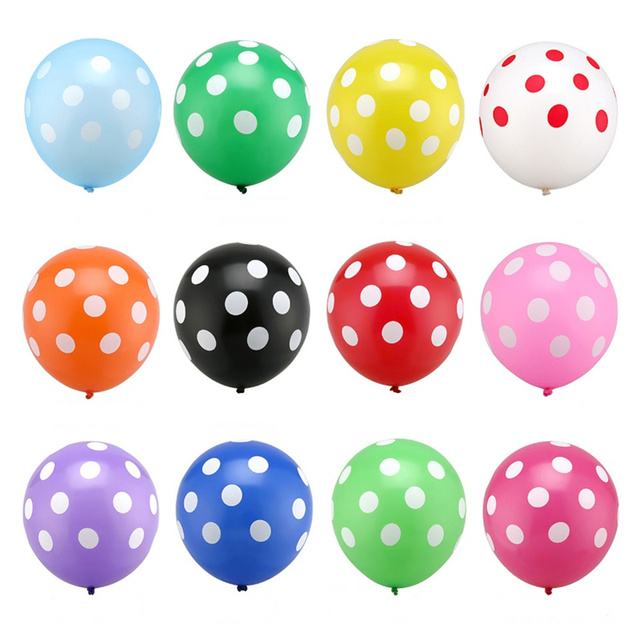 10 Pieces 12 inches Dot Latex Balloons New Year Wedding Happy Birthday Party Decoration Balloons Inflatable Air Ballons 9 Colors