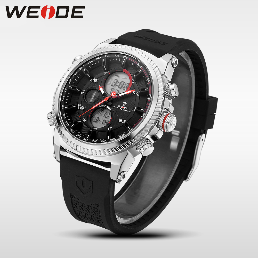 WEIDE Casual Genuine luxury Men watch sport  digital Automatic watches silicon watch quartz Analog Water Resistant Alarm Clock weide luxury brand quartz sport relogio digital masculino watch stainless steel analog men automatic alarm clock water resistant