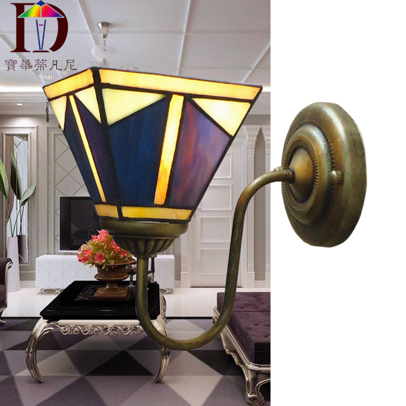 Tiffany Wall Lamp European Baroque Stained Glass Wall Sconce Mirror Bedroom Bathroom Cabinet Fixtures E27 110-240V see by chloé короткое платье