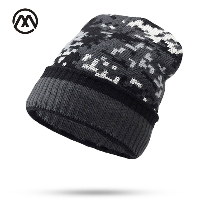 Thicken Fleece Lining army Camouflage Hat for Men Hunting CS Winter hat Warm   Beanies   Knit Camo Ski Hats Winter climbing fishing