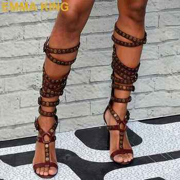 Rivets Studded Knee High Gladiator Sandals Women Stiletto High Heels Summer Sandals T-Strap Cutout Ladies  Rome Sandals Shoes