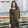 Free Army Brand Army Green Fashion 2015 Camouflage Tshirts For Womens Lady Cotton Casual Round Neck
