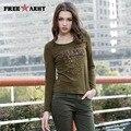 Ejército marca Verde Camisetas de La Moda de Las Mujeres de Señora Cotton Casual Cuello Redondo de Impresión de Manga Larga camiseta patrón de alta calidad GS-870