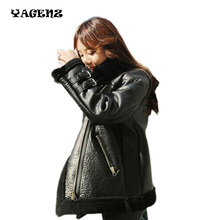 winter Women locomotive leather collar Women pu leather Parkas jacket 2017New pu leather jacket motorcycle winter Womens Parkas