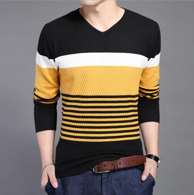 2015 весеннее половодье новых мужчин высокого класса мода и личность полосатый свитер мужчин досуг мужские свитера и пуловеры