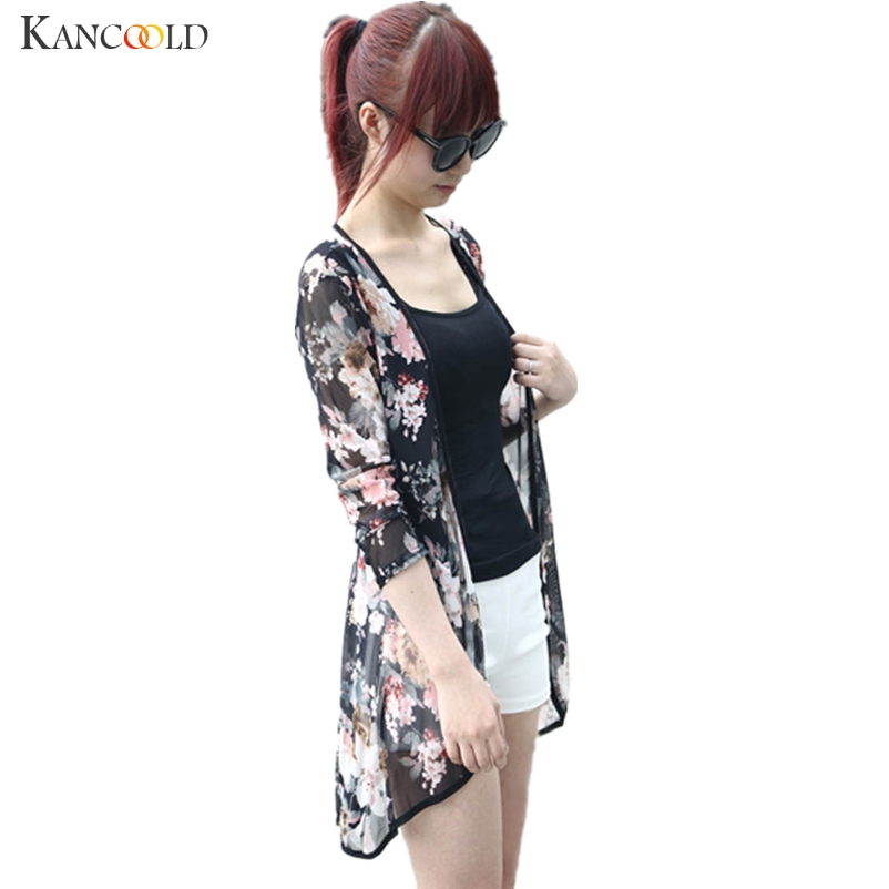 Mode Kvinnor Boho Peony Print Chiffon Loose Shawl Gaze Kimono Kofta Casual Lady Shirt Cover Up Sommar Beach Blouses Augu3