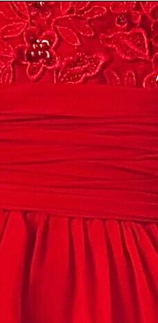 Китайский красный пром / ну вечеринку платья в с круглым вырезом аппликации блёстки вышивка бисером трапециевидный длинная вечерние платья - Цвет: Красный