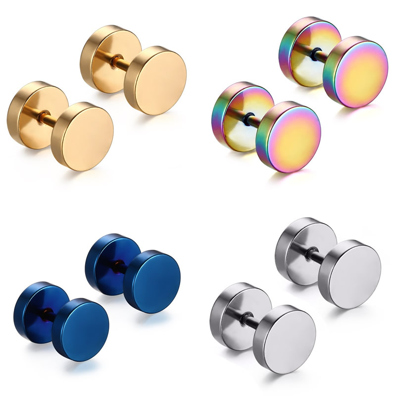 YYW 1Pair Punk Double Sided Round Titanium Steel Earrings Men Women Blue Gold-color Fake Ear Plugs Gothic Barbell Stud Earring