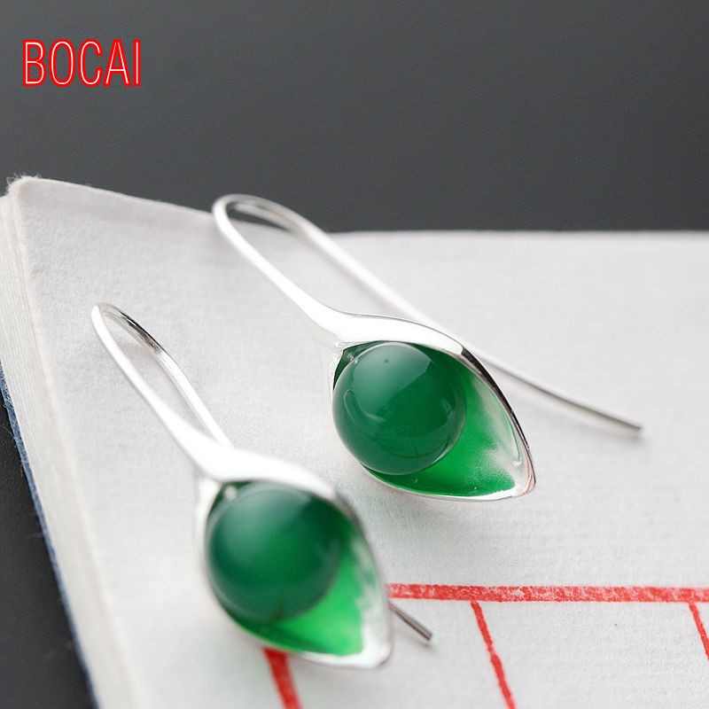 925 sterling silver set natural green chalcedony Pendant Earrings
