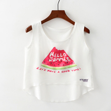 1efe27b49390e Sexy Women Crop Top O Neck Sleeveless Vest 2018 Summer Style Letter  Watermelon Cactus Printed Woman