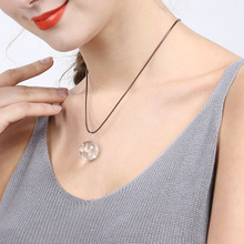 X&P Fashion Charm Necklaces for Women Girl Crystal Glass Ball Dandelion Long Strip Leather Chain Pendant Necklace Jewelry Gift