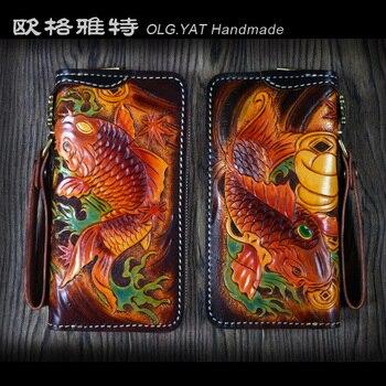 OLG.YAT Handmade leather carving wallet Two fish purse handbag retro vintage zipper long bag pure Cowhide fits man Pouches фото