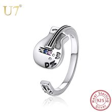 U7 925 Sterling Silver Open Ring CZ Adjustable Singer Guitar Punk Rock Music Lover Silver Rings for Men Women Accessories SC263(China)