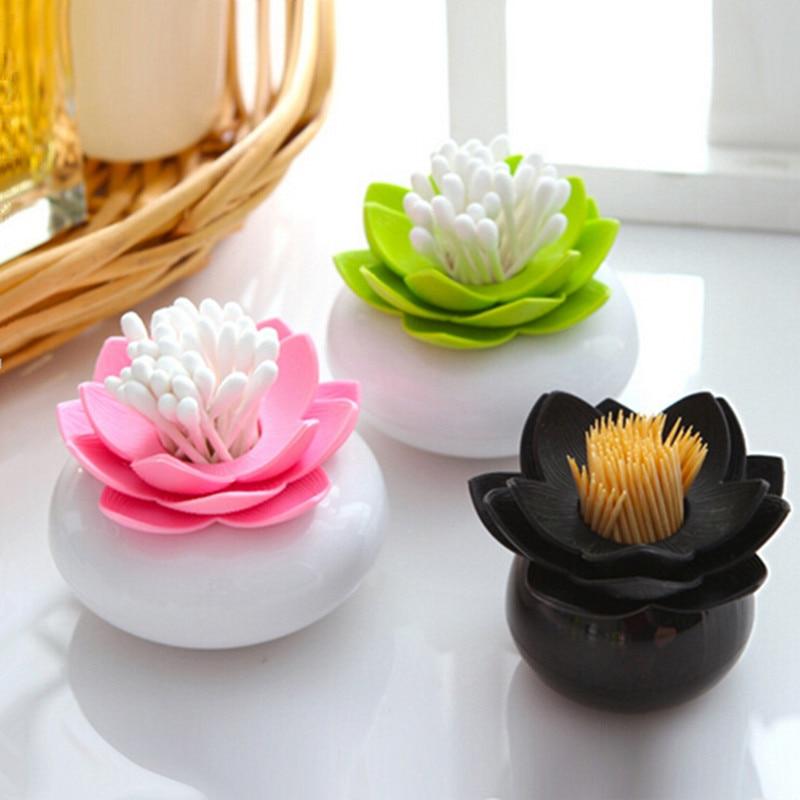 New plastic lotus cotton swab box cotton bud holder lotus toothpicks holder toothpick case - Novelty toothpicks ...