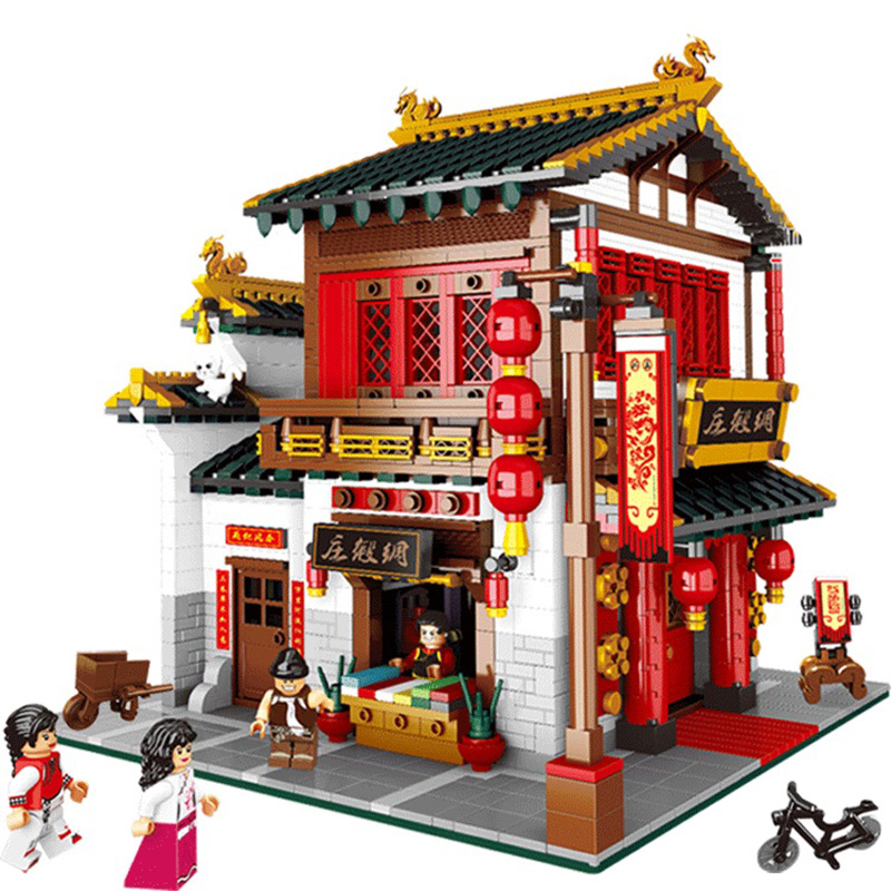 XingBao 01001 2787Pcs Creative Chinese Style The Chinese Silk and Satin Store Set Building Blocks Bricks Toys Model Children Toy bride and bridegroom custom made tang suit chinese wedding bricks set model building blocks education toys for children kl9007