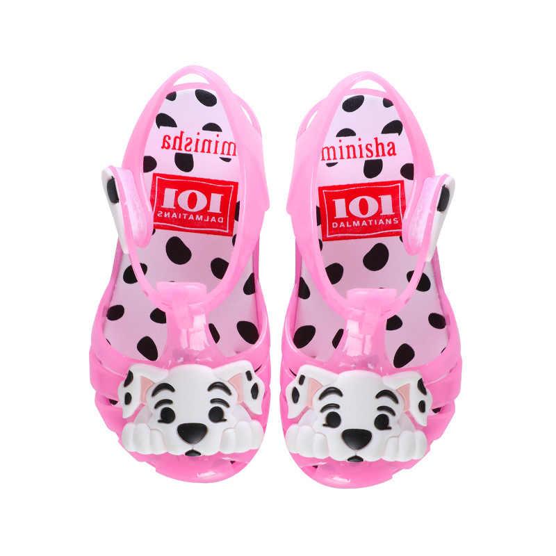 2019 ใหม่การ์ตูนสุนัขรองเท้าแตะสำหรับสาวฤดูร้อนJelly Babyรองเท้าเด็กวัยหัดเดินรองเท้าแตะLEDกระพริบรองเท้าชายหาดขนาด 24-29