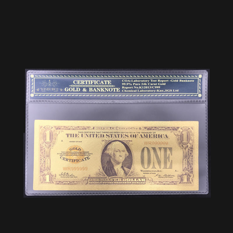 Colored America Gold Plated Banknote 1928 USD 1 Dollars Fake Money Bill With Plastic Frame For Precious Gift And Collection