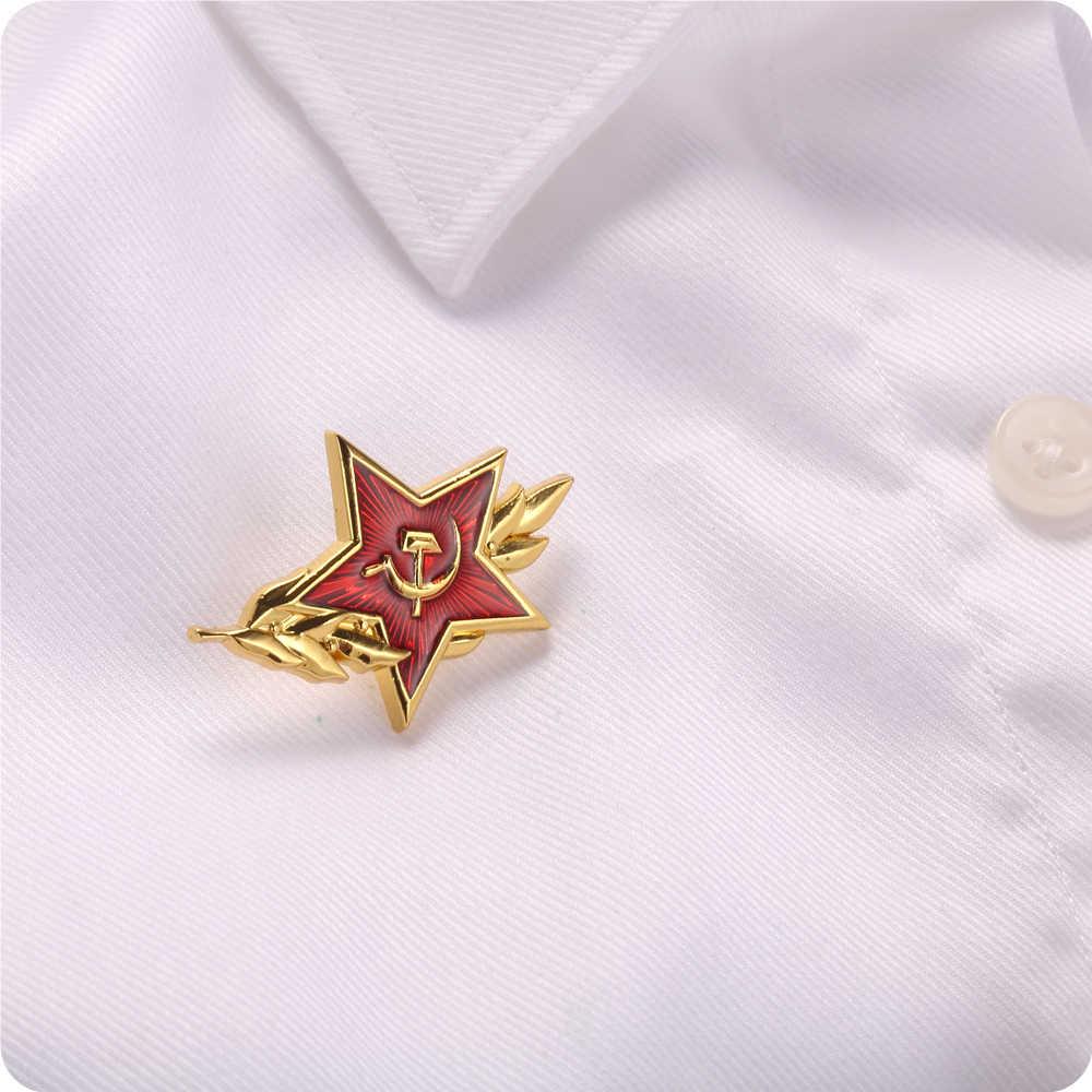 Insignia del símbolo del martillo de la hoz de la estrella roja del CCCP de la Guerra Fría soviética