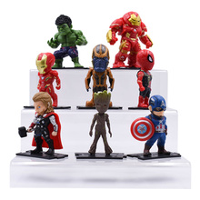 8 pcs/lot Super Hero Toys Thanos Hulk Buster Spiderman Iron Man Captain America Thor Wolverine Black Panther Action Figure Dolls