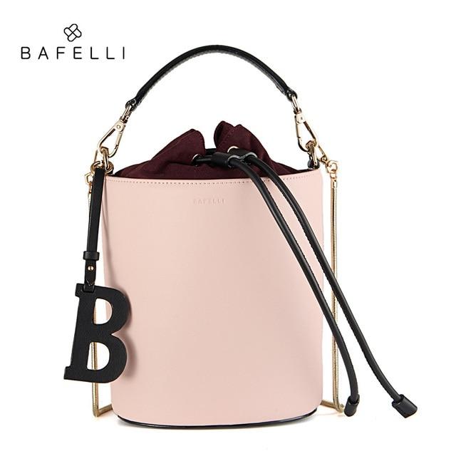 c9601c95 BAFELLI women bags split leather bucket handbag high quality string shoulder  bag letter ornaments bolsos mujer