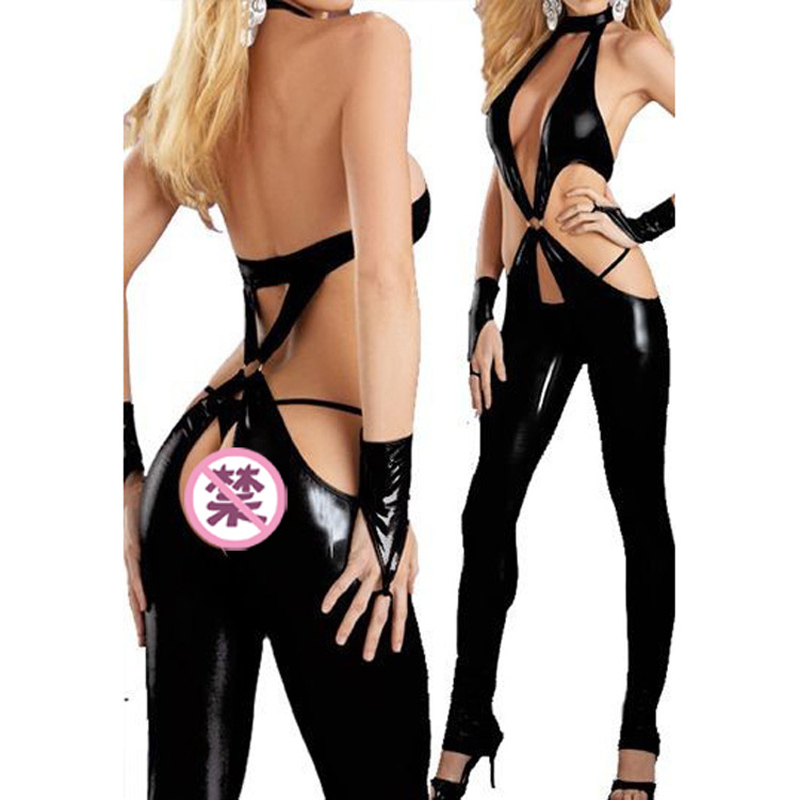 Woman's Sexy Erotic Leather Latex Crotchless Porn Babydoll Catsuit Costumes Dessous For Club Pole Dance Game BodySuit DS Party image