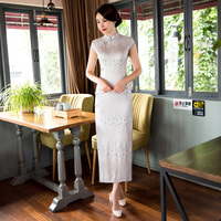 Free Shipping Lace Long Cheongsams Qipao Dress Chinese Traditional Dress Vintage Oriental Dresses 3 Color