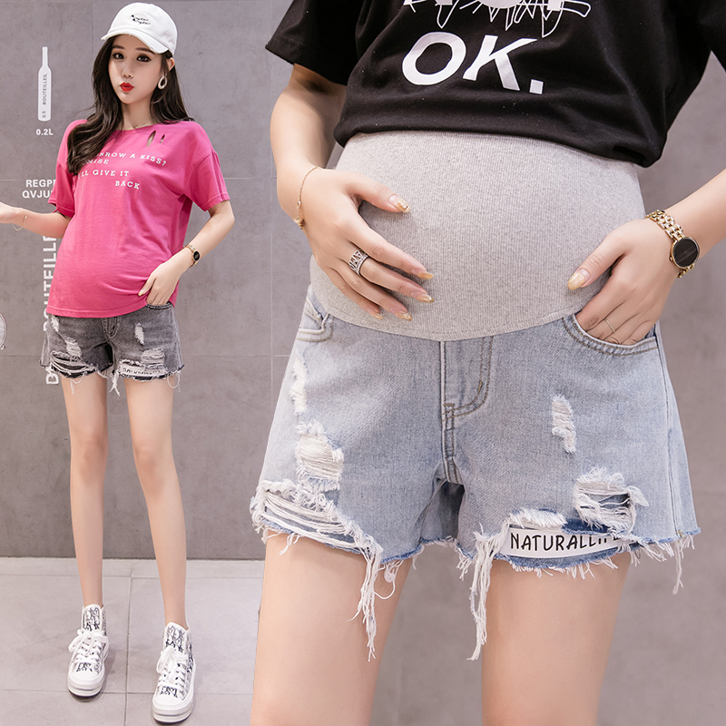 Ripped Hole Hot Denim Maternity   Shorts   for Pregnant Women Adjustable Belly   Shorts   Pregnancy breathable   Short   Jeans Mother wear