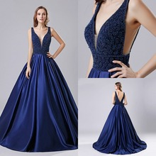 Dubai Luxury Satin Crystal Dark Blue A-line Evening Gown 2019 Backless Party Occasion Formal Long Prom Dresses Plus Size