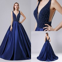 Dubai Luxury Satin Crystal Dark Blue A line Evening Gown 2019 Backless Party Occasion Formal Long Prom Dresses Plus Size