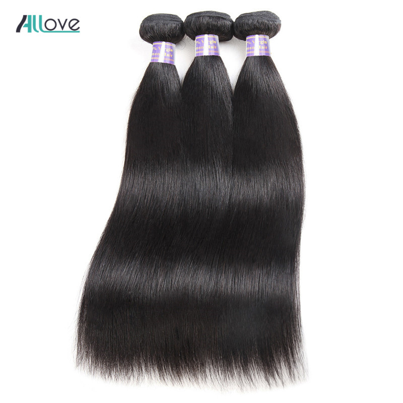 Allove Malaysian Straight Hair Weave Bundles 100% Human Hair Extensions Natural Color 8-28inch Double Machine Weft Non Remy Hair