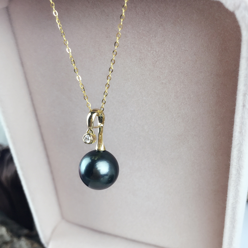 AINUOSHI 18K Yellow Gold Natural Tahiti Black Pearls Pendant Necklace SI1 G/H Diamond Women Wedding Engagement Link Chain 9 10mm