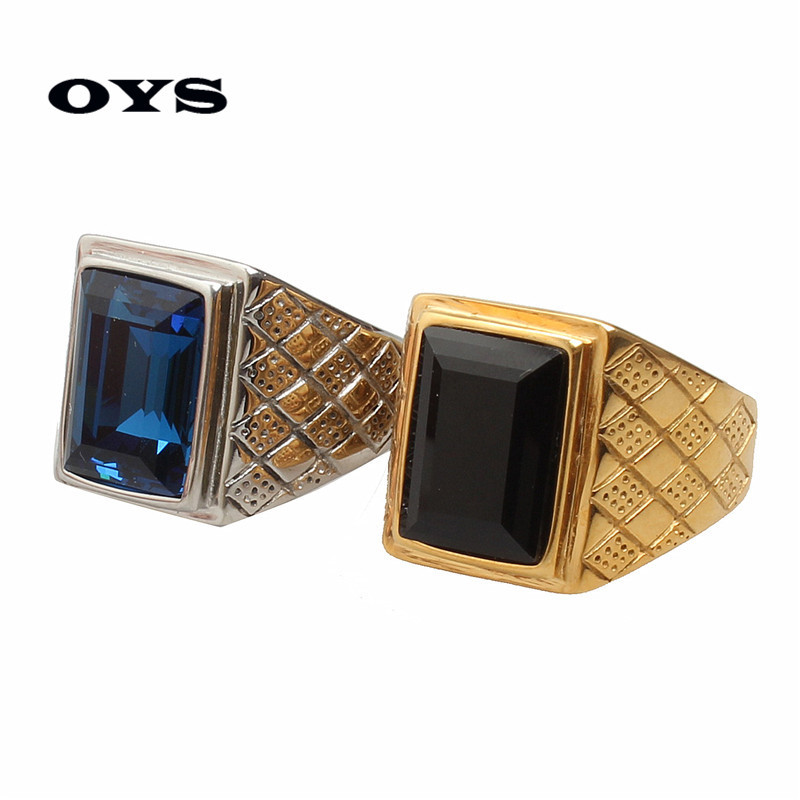 Hot Sale Retro Personality 316 Titanium Steel Square Blue,Black Gem Crystal Stone Wedding Ring for Men