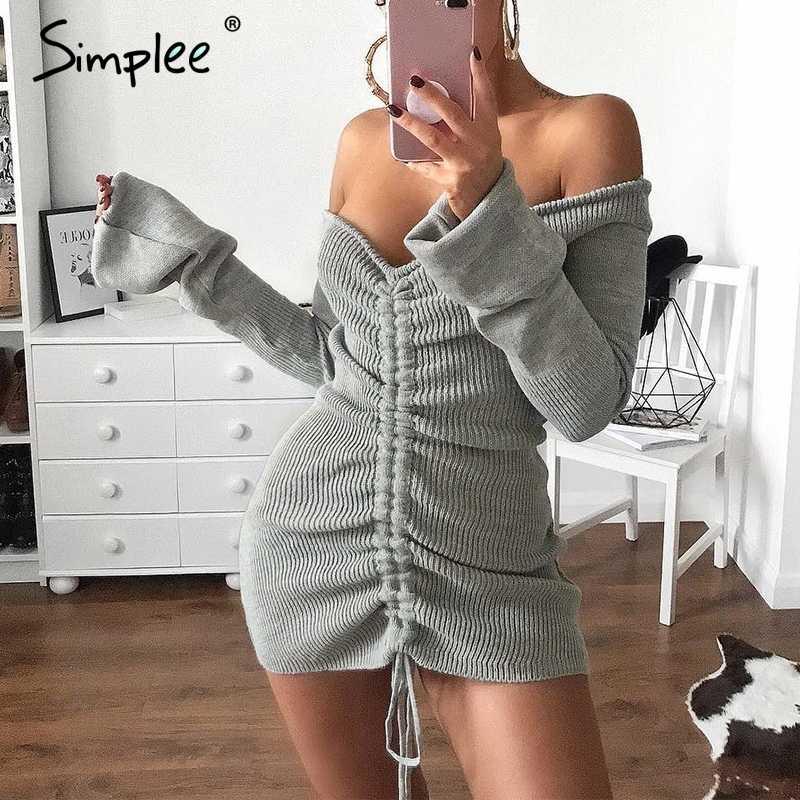 Simplee с открытыми плечами вязаный свитер сексуальное платье Для женщин рукав «фонарик» короткие мини-платье вечерние club зима спинки платье-свитер