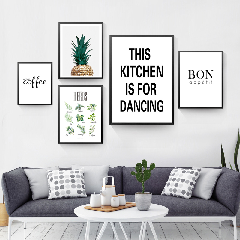 Us 2 42 56 Off This Kitchen Is For Dancing Quote Wall Decor Canvas Prints Coffee Art Pictures Posters Fg0096 In Painting