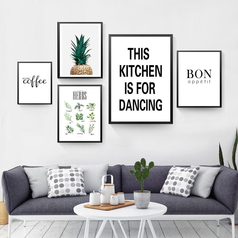 Black And White Kitchen Artwork: Decorative Canvas Kitchen Wall Poster
