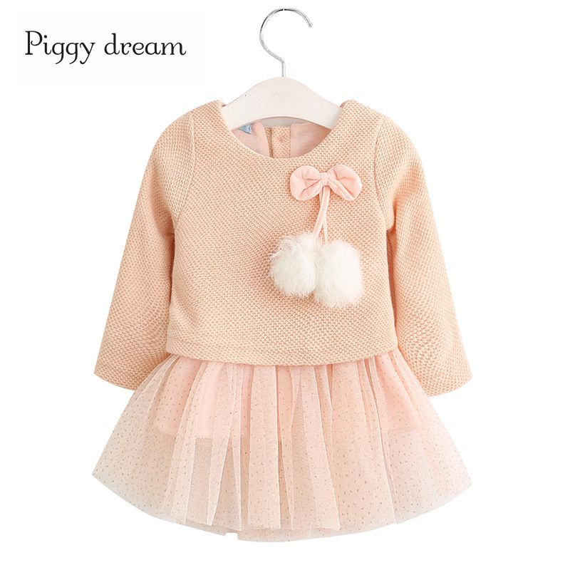 2017 New Autumn Winter baby dress Long-Sleeve kids Girls Dress Kids Clothes Children Bow Princess Dresses For girls belababy baby girls preppy style dress princess children autumn double breasted cute kids casual long sleeve dresses for girls