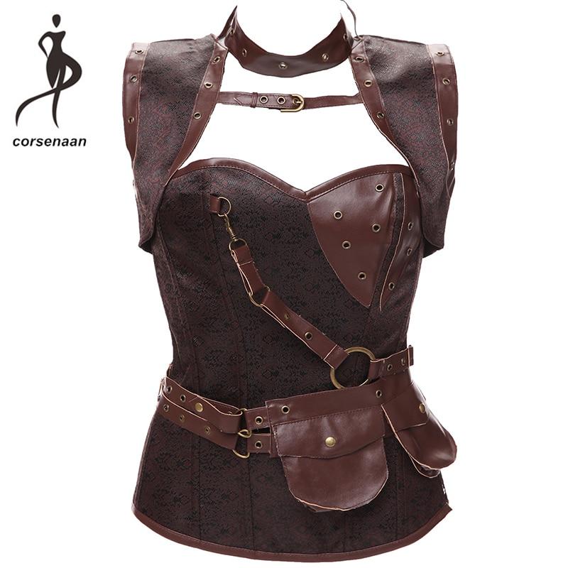 Black Women's Spiral Steel Boned Goth Retro Overbust Steampunk Bustier Corset With Jacket Plus Size 926#