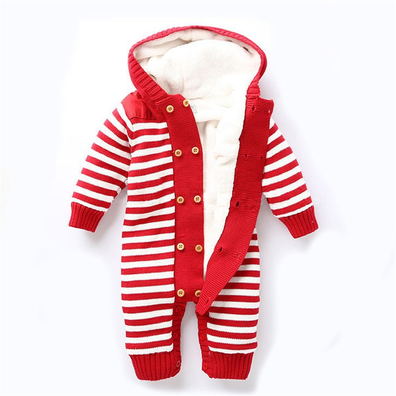 Baby Boys Girls Romper Thick Fleece Warm Cardigan for Winter Kids Knitted Sweater Romper Infant\'s Thick Climbing Clothes Hooded Baby Outwear CL0434 (6)