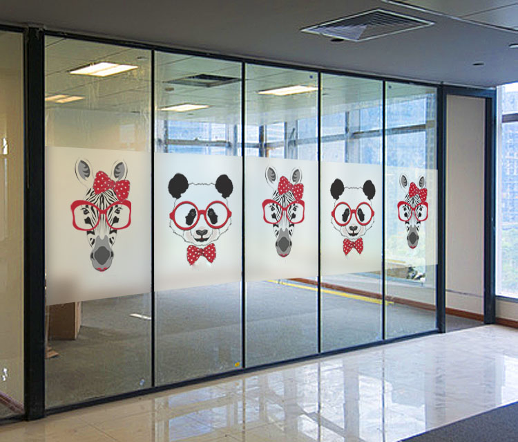 Custom Cartoon Animals Electrostatic Frosted Glass Window