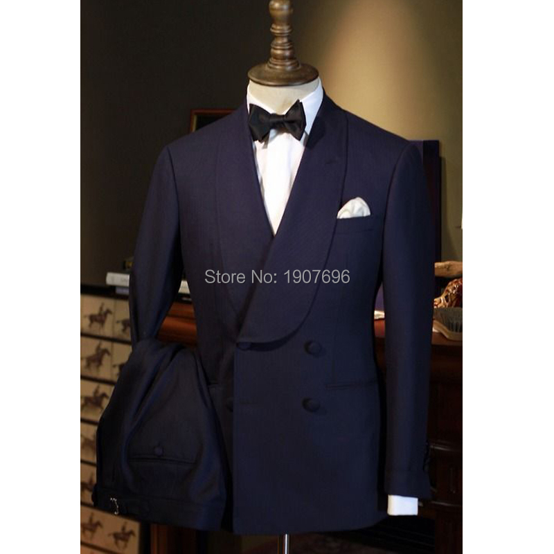 Navy Blue Wedding Groom Tuxedos For Prom Party Stage Double Breasted Slim Fit Men Suits Two Piece Jacket Pants Male Clothes