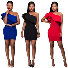 Un hombro riza vestidos del club rojo hombro party night club mini dress sin mangas vestidos sexy clubwear jupe femme robe