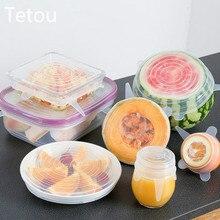 6 шт Силиконовые стрейч многоразовые крышки герметичные пищевые обертывания крышки сохраняют свежесть уплотнение Чаша эластичный обертывание крышка кухонная посуда
