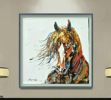 Knife painting Horse Animals Handpainted Oil Painting Wall Art Modern Picture Palette For Home Decor
