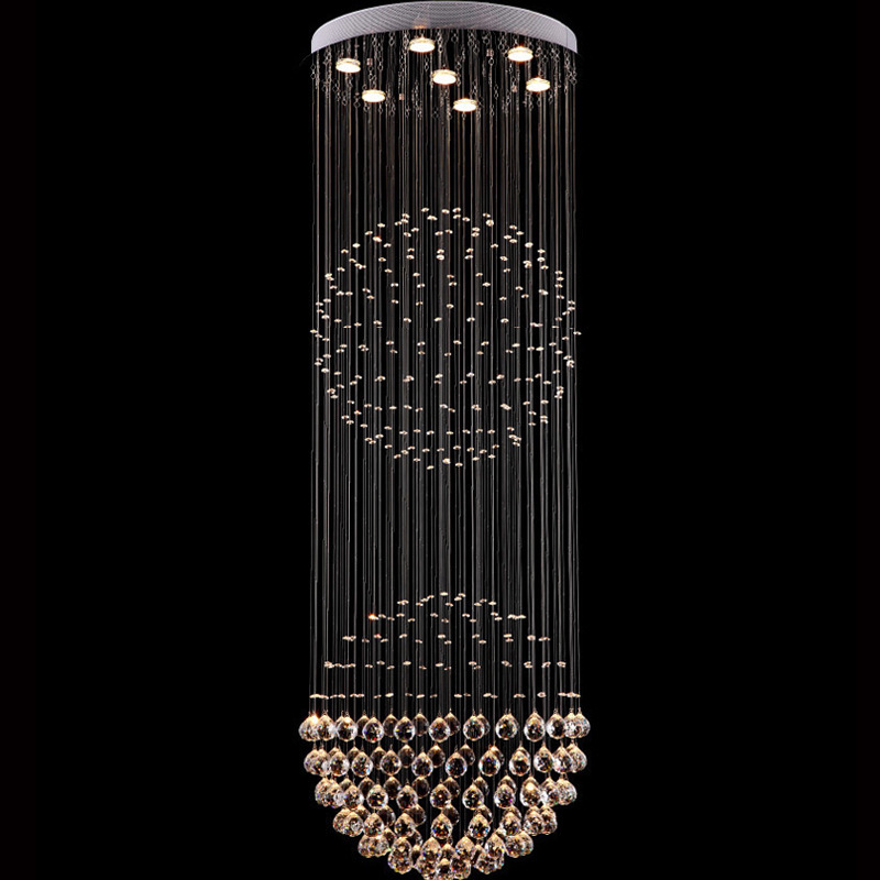 Long Ceiling Light Fixture: Long Spiral Crystal Ceiling Lights Clear Crystal Lamp Fixture Lustres Lamp  for Home Indoor Stairs Foyer,Lighting