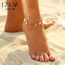 Summer Beach Double Leaves Pendant Anklet Foot Chain
